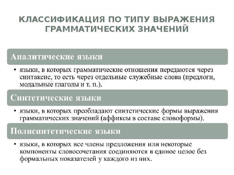 КЛАССИФИКАЦИЯ ПО ТИПУ ВЫРАЖЕНИЯ ГРАММАТИЧЕСКИХ ЗНАЧЕНИЙ