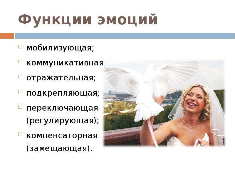 Функции эмоций мобилизующая; коммуникативная; отражательная; подкрепляющая; переключающая (регулирую