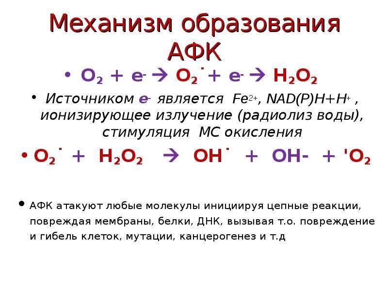 Механизм образования АФК О2 + е-  О2˙+ е-  Н2О2 Источником е- является Fe2+, NAD(P)H+H+ , ионизиру