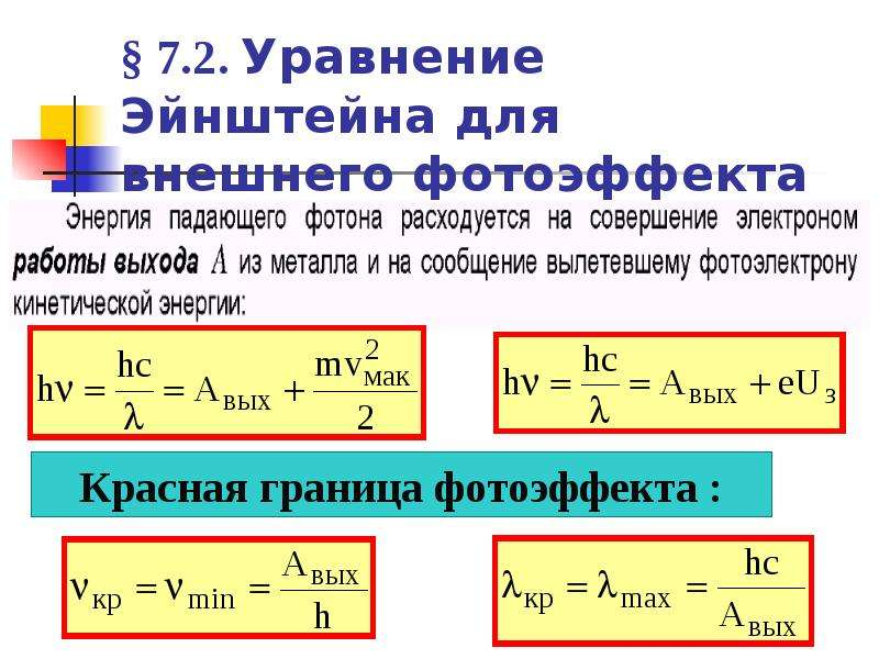 они отличаются фотоэффект и его законы уравнение эйнштейна питание, умеренные