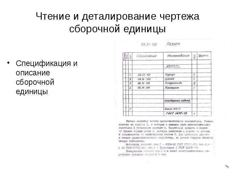 Чтение и деталирование чертежа сборочной единицы Спецификация и описание сборочной единицы