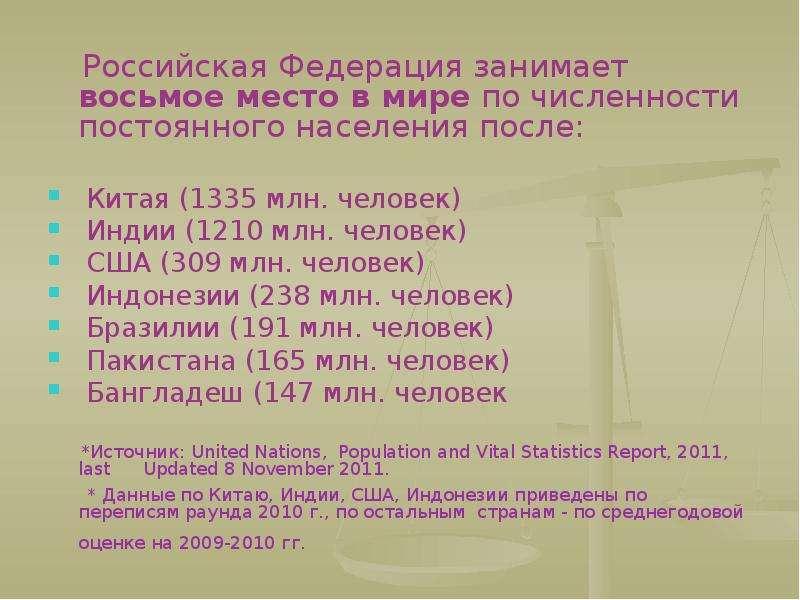 Российская Федерация занимает восьмое место в мире по численности постоянного населения после: Росси