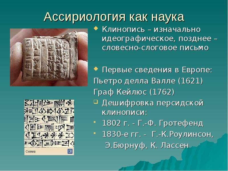 Ассириология как наука Клинопись – изначально идеографическое, позднее – словесно-слоговое письмо Пе