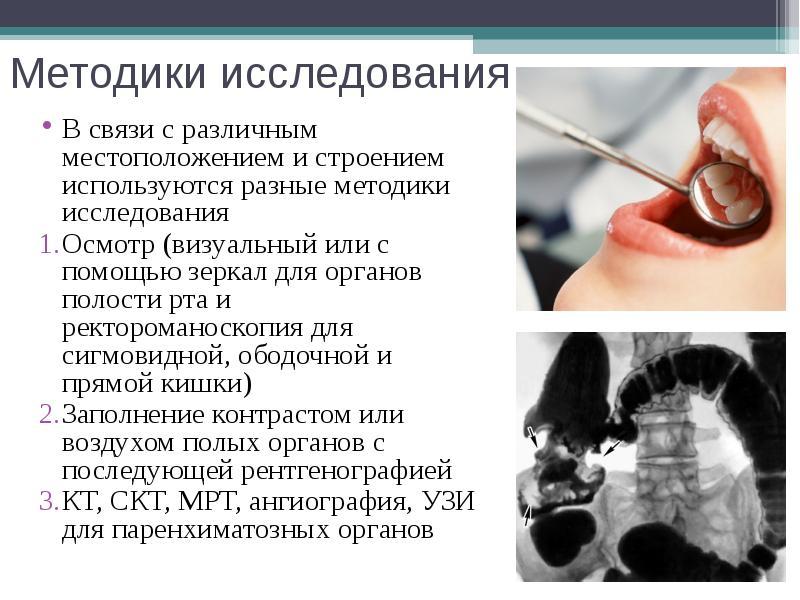 Методики исследования В связи с различным местоположением и строением используются разные методики и