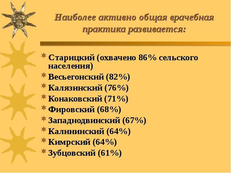 Наиболее активно общая врачебная практика развивается: Cтарицкий (охвачено 86% сельского населения)