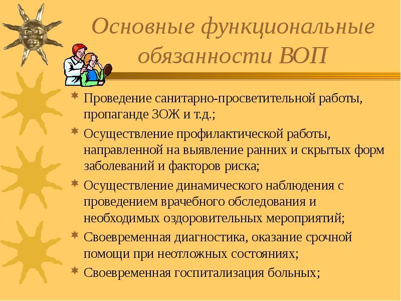 Основные функциональные обязанности ВОП Проведение санитарно-просветительной работы, пропаганде ЗОЖ