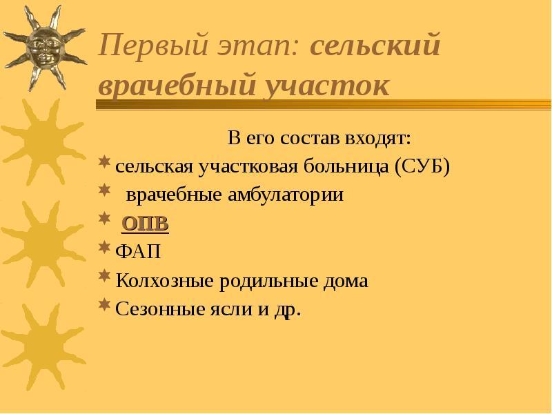 Первый этап: сельский врачебный участок В его состав входят: сельская участковая больница (СУБ) врач