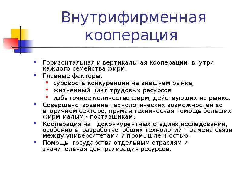 Внутрифирменная кооперация Горизонтальная и вертикальная кооперации внутри каждого семейства фирм. Г