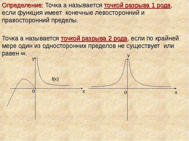 Определение: Точка а называется точкой разрыва 1 рода, если функция имеет конечные левосторонний и п