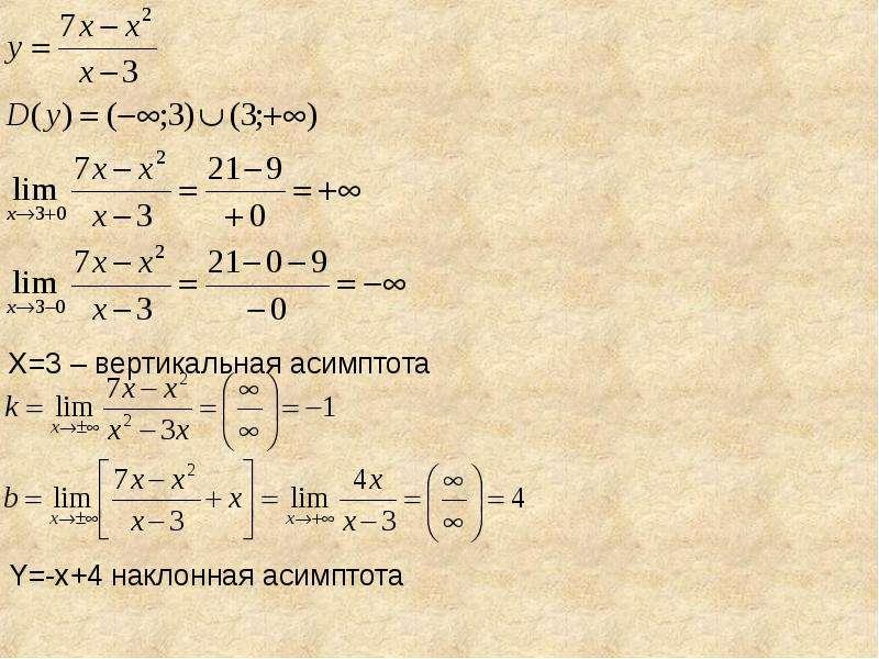 X=3 – вертикальная асимптота Y=-x+4 наклонная асимптота
