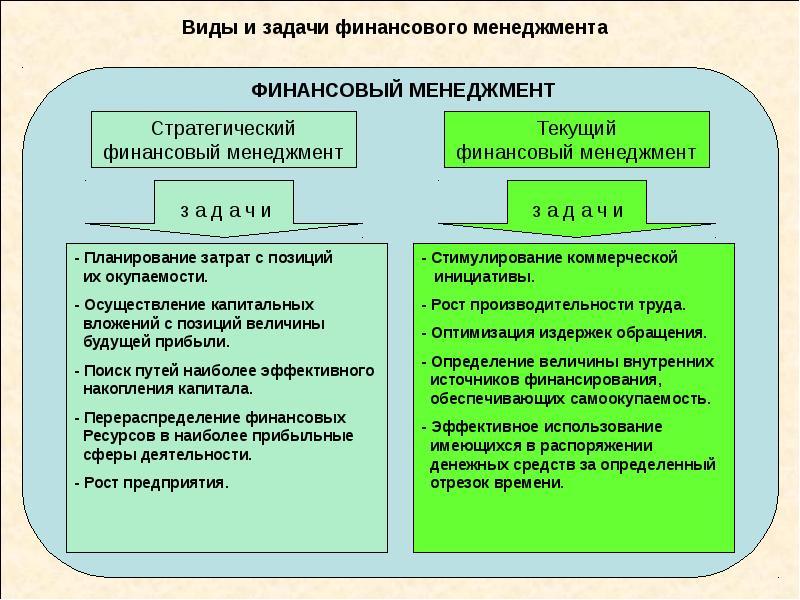 Виды и задачи финансового менеджмента