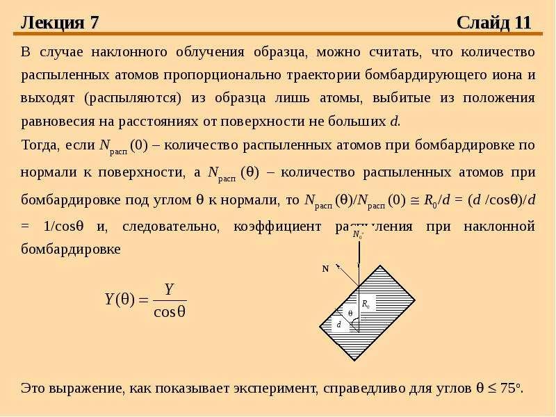 Лекция 7 Слайд 11 В случае наклонного облучения образца, можно считать, что количество распыленных а