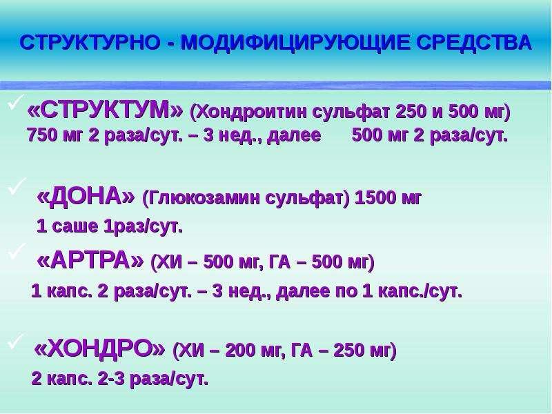 СТРУКТУРНО - МОДИФИЦИРУЮЩИЕ СРЕДСТВА «СТРУКТУМ» (Хондроитин сульфат 250 и 500 мг) 750 мг 2 раза/сут.