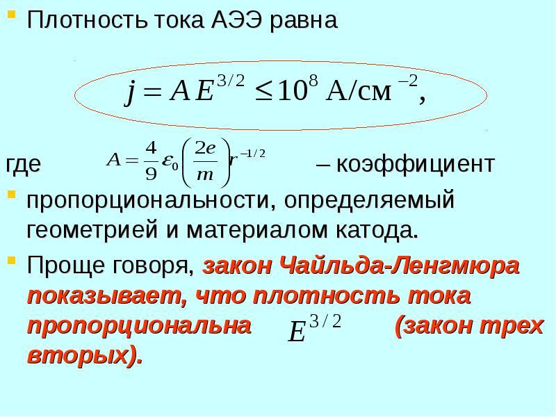 Плотность тока АЭЭ равна Плотность тока АЭЭ равна где – коэффициент пропорциональности, определяемый
