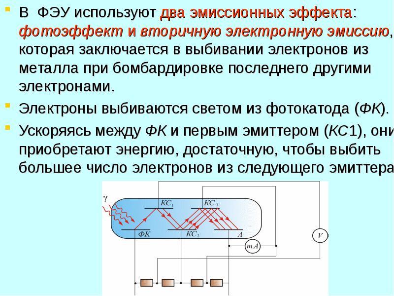 В ФЭУ используют два эмиссионных эффекта: фотоэффект и вторичную электронную эмиссию, которая заключ