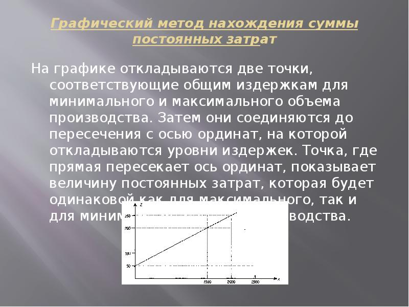 Графический метод нахождения суммы постоянных затрат На графике откладываются две точки, соответству