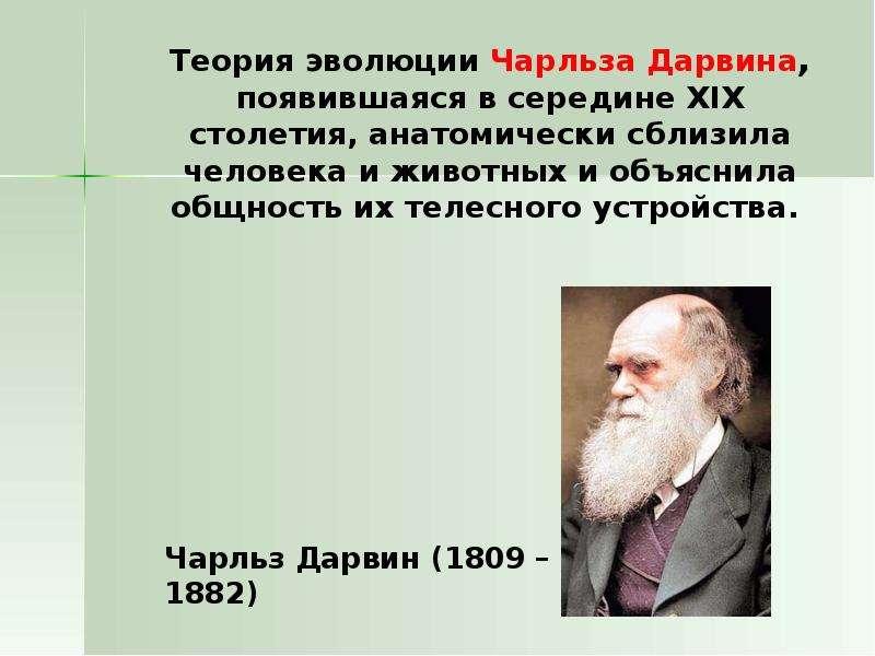 Теория эволюции Чарльза Дарвина, появившаяся в середине XIX столетия, анатомически сблизила человека