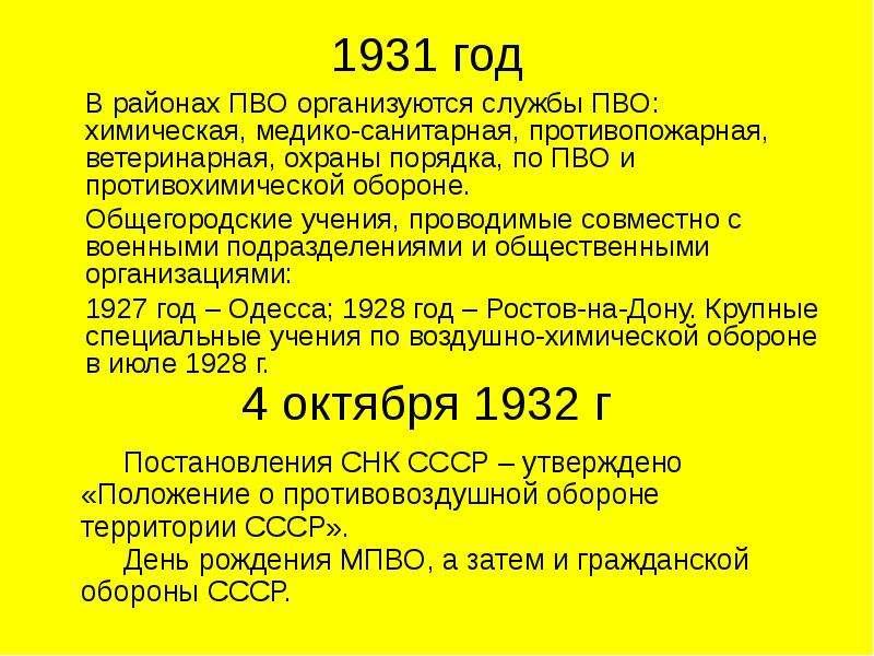 1931 год В районах ПВО организуются службы ПВО: химическая, медико-санитарная, противопожарная, вете