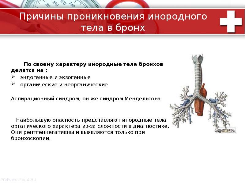 Причины проникновения инородного тела в бронх По своему характеру инородные тела бронхов делятся на