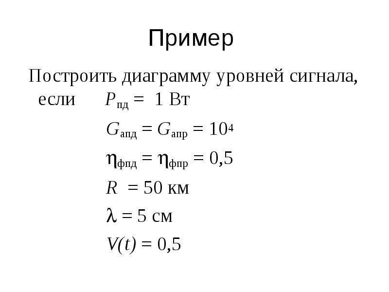 Пример Построить диаграмму уровней сигнала, если Pпд = 1 Вт Gапд = Gапр = 104 фпд = фпр = 0,5 R =