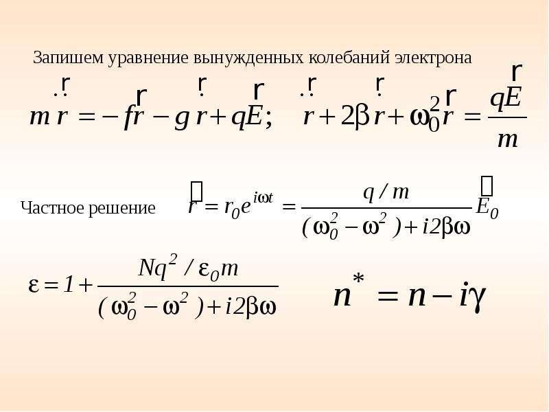 Запишем уравнение вынужденных колебаний электрона