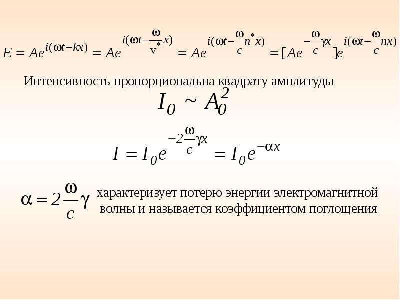 Интенсивность пропорциональна квадрату амплитуды Интенсивность пропорциональна квадрату амплитуды