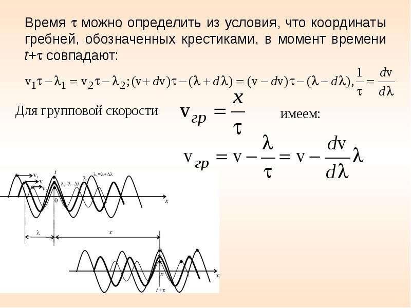 Время  можно определить из условия, что координаты гребней, обозначенных крестиками, в момент време