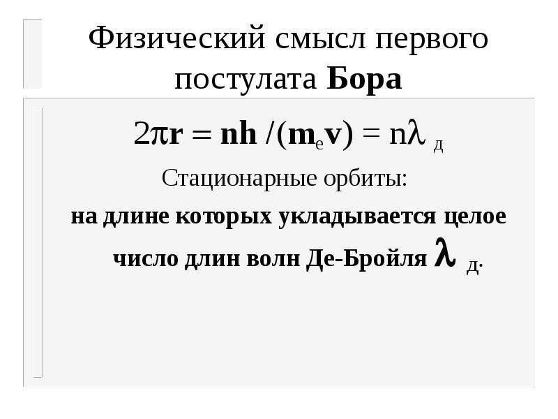 Физический смысл первого постулата Бора 2rnhmеv) = nд Стационарные орбиты: на длине которых