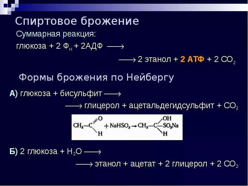 Спиртовое брожение Формы брожения по Нейбергу А) глюкоза + бисульфит   глицерол + ацетальдегидсу