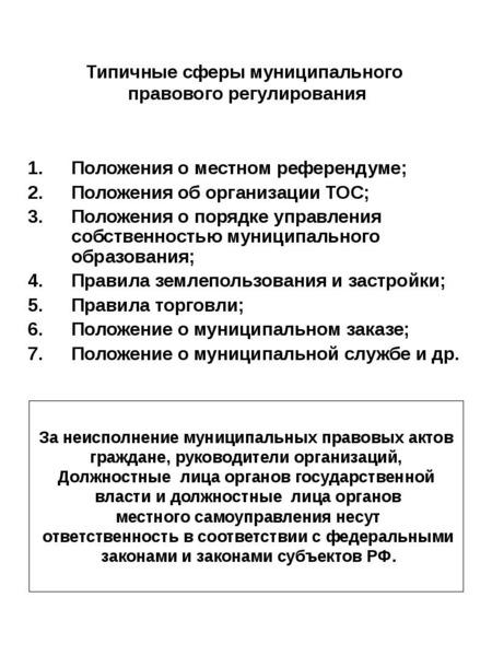 Типичные сферы муниципального правового регулирования Положения о местном референдуме; Положения об