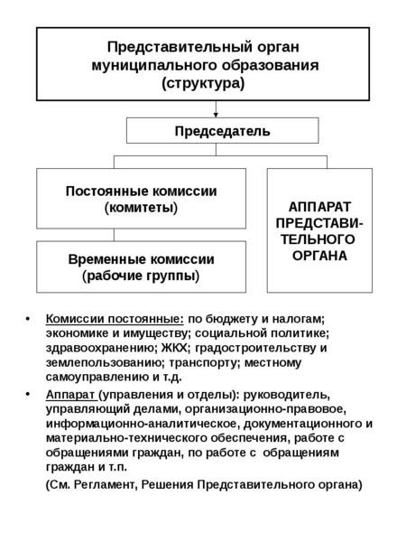 Комиссии постоянные: по бюджету и налогам; экономике и имуществу; социальной политике; здравоохранен