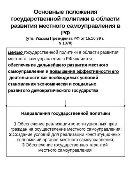 Основные положения государственной политики в области развития местного самоуправления в РФ (утв. Ук