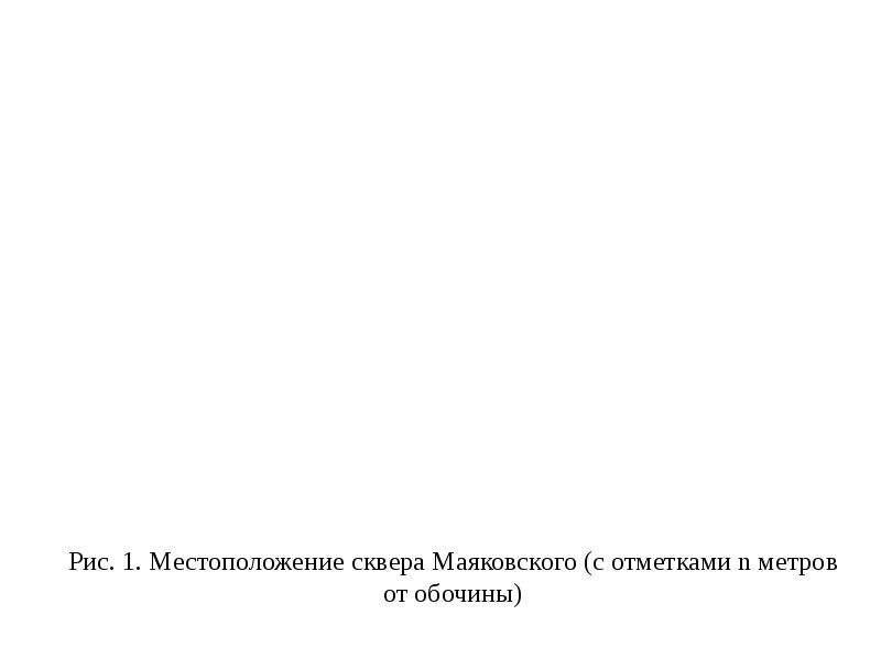 Рис. 1. Местоположение сквера Маяковского (с отметками n метров от обочины)