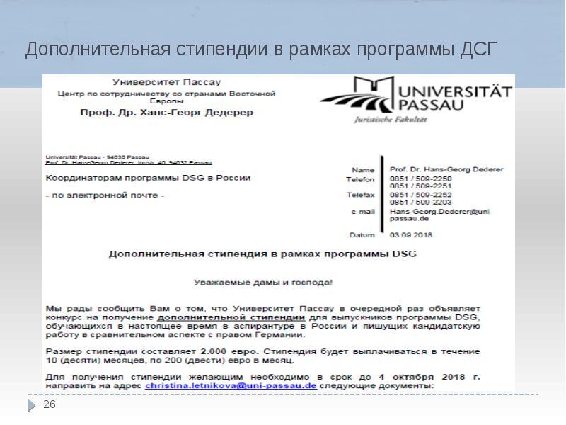 Дополнительная стипендии в рамках программы ДСГ