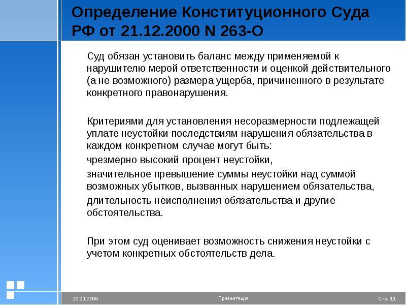 Определение Конституционного Суда РФ от 21. 12. 2000 N 263-О Суд обязан установить баланс между прим