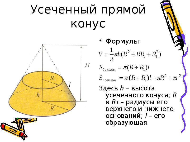 Усеченный прямой конус Формулы: Здесь h – высота усеченного конуса; R и R1 – радиусы его верхнего и