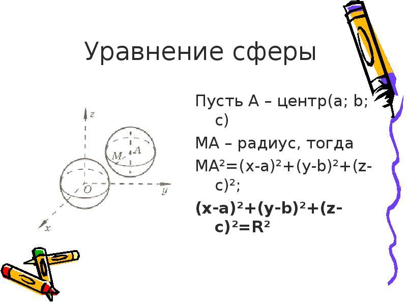 Уравнение сферы Пусть A – центр(a; b; c) MA – радиус, тогда MA²=(x-a)²+(y-b)²+(z-c)²; (x-a)²+(y-b)²+