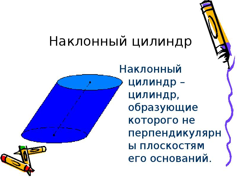 Наклонный цилиндр – цилиндр, образующие которого не перпендикулярны плоскостям его оснований. Наклон