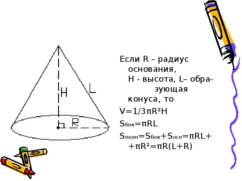 Если R – радиус основания, H - высота, L– обра- зующая конуса, то Если R – радиус основания, H - выс
