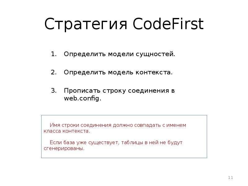 Стратегия CodeFirst Определить модели сущностей. Определить модель контекста. Прописать строку соеди