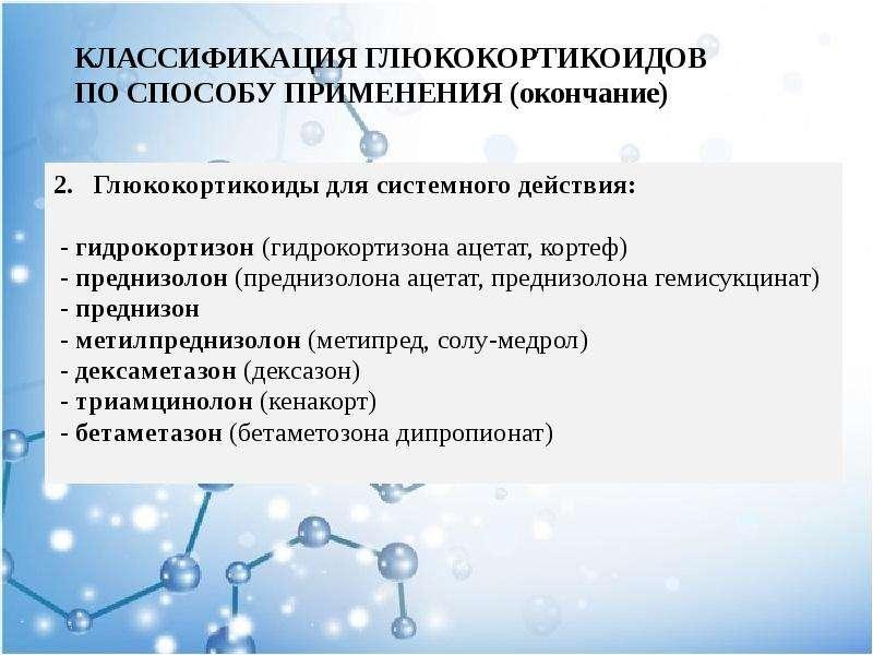 КЛАССИФИКАЦИЯ ГЛЮКОКОРТИКОИДОВ ПО СПОСОБУ ПРИМЕНЕНИЯ (окончание) 2. Глюкокортикоиды для системного д