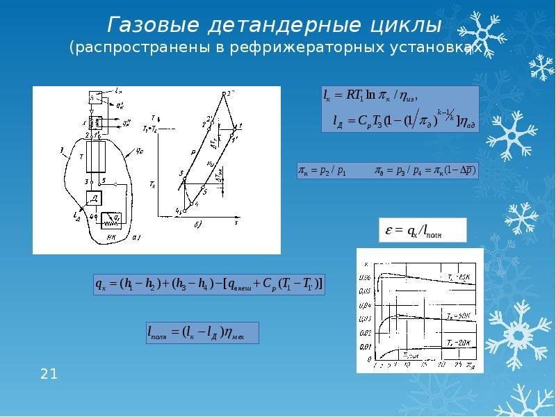 Газовые детандерные циклы (распространены в рефрижераторных установках)