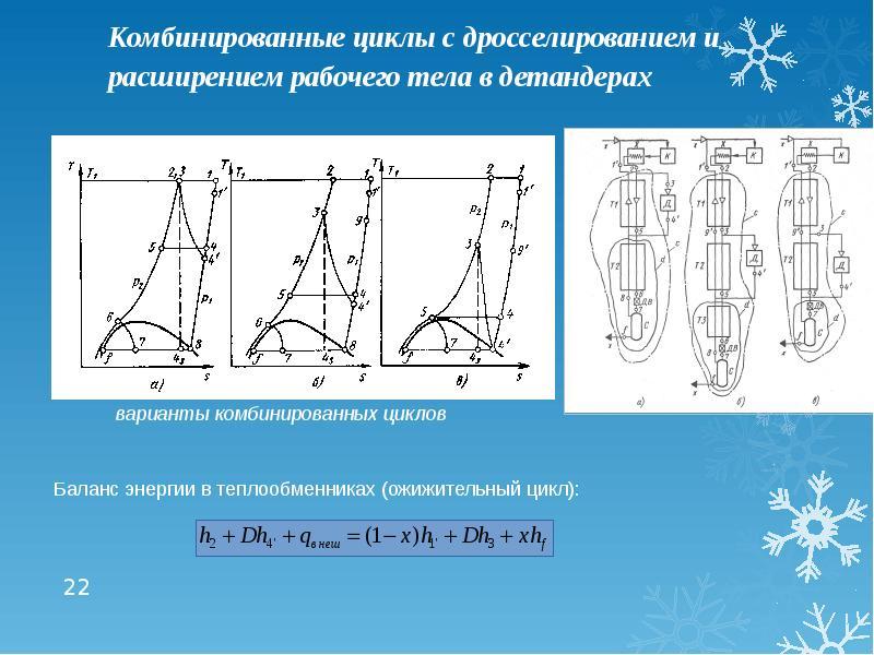 Комбинированные циклы с дросселированием и расширением рабочего тела в детандерах