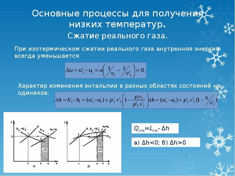 Основные процессы для получения низких температур. Сжатие реального газа.