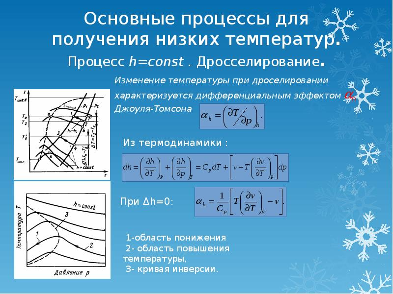 Основные процессы для получения низких температур. Процесс h=const . Дросселирование.