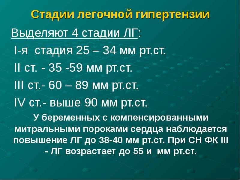 Стадии легочной гипертензии Выделяют 4 стадии ЛГ: I-я стадия 25 – 34 мм рт. ст. II ст. - 35 -59 мм р