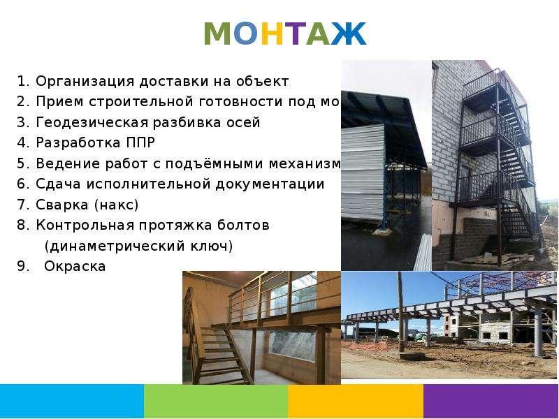 МОНТАЖ Организация доставки на объект Прием строительной готовности под монтаж Геодезическая разбивк