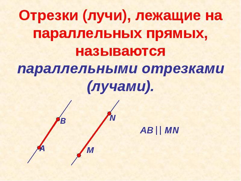 Отрезки (лучи), лежащие на параллельных прямых, называются параллельными отрезками (лучами).