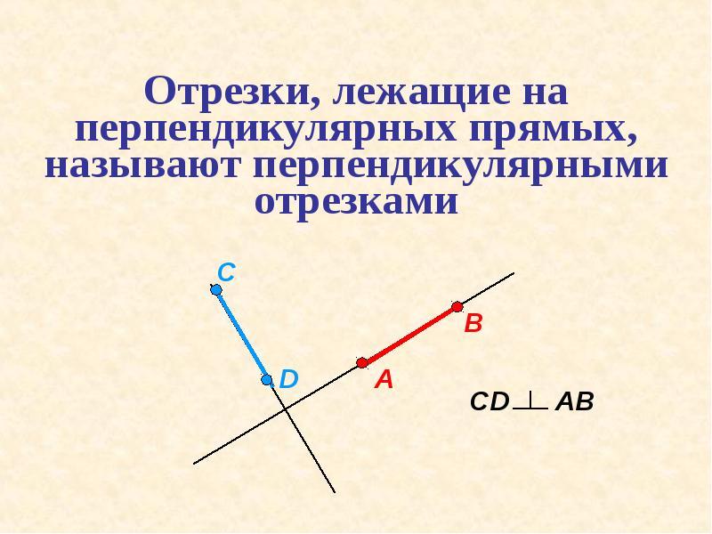 Отрезки, лежащие на перпендикулярных прямых, называют перпендикулярными отрезками