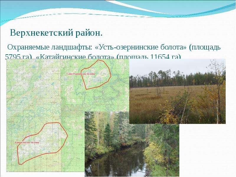 Верхнекетский район. Охраняемые ландшафты: «Усть-озернинские болота» (площадь 5795 га), «Катайгински